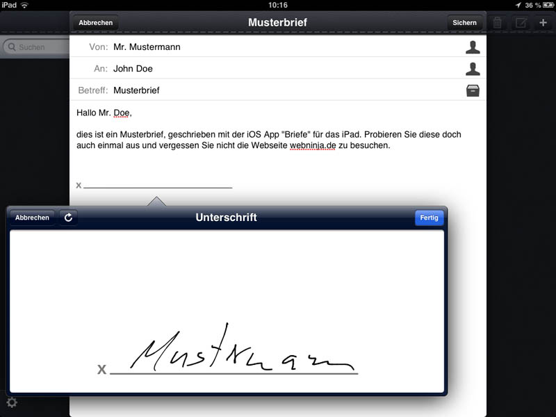 Briefe App Unterschrift