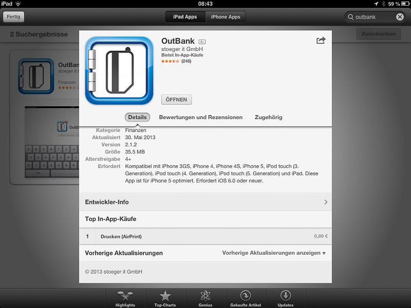 Appstore Airprint In-App-Kauf