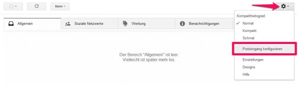 Google Mail Zahnrad Posteingang konfigurieren
